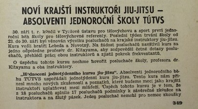 informations about Kitayama judo teaching in Czechoslovakia