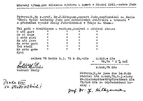 informations about Kitayama judo teaching in Hradec Králové in 1955